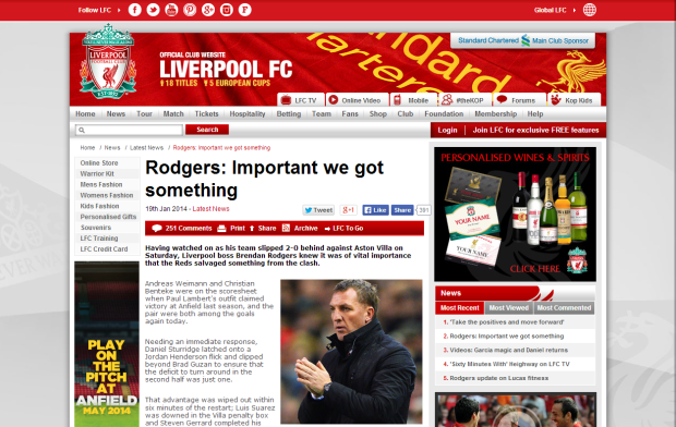 140119_Rodgers  Important we got something   Liverpool FC