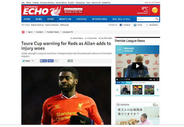 140125_Toure Cup warning for Reds as Allen adds to injury woes   Liverpool Echo