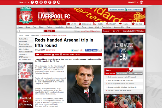 140127_Reds handed Arsenal trip in fifth round   Liverpool FC