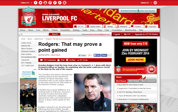 140203_Rodgers  That may prove a point gained   Liverpool FC