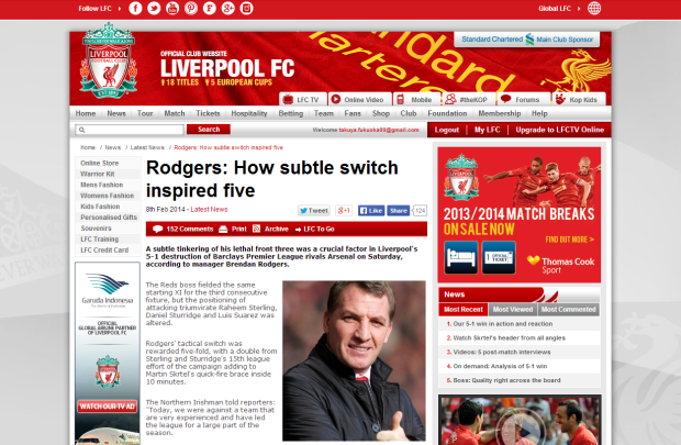140209_Rodgers  How subtle switch inspired five   Liverpool FC