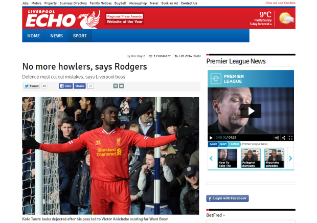 140216_Liverpool FC manager Brendan Rodgers calls for defence to cut out mistakes   Liverpool Echo