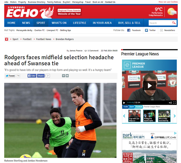 140222_Liverpool FC Brendan Rodgers faces midfield selection headache ahead of Swansea tie   Liverpool Echo
