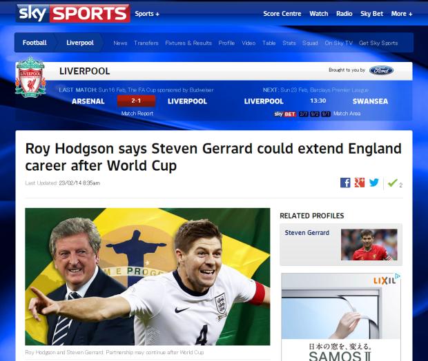 140223_Roy Hodgson says Steven Gerrard could extend England career after World Cup   Football News   Sky Sports