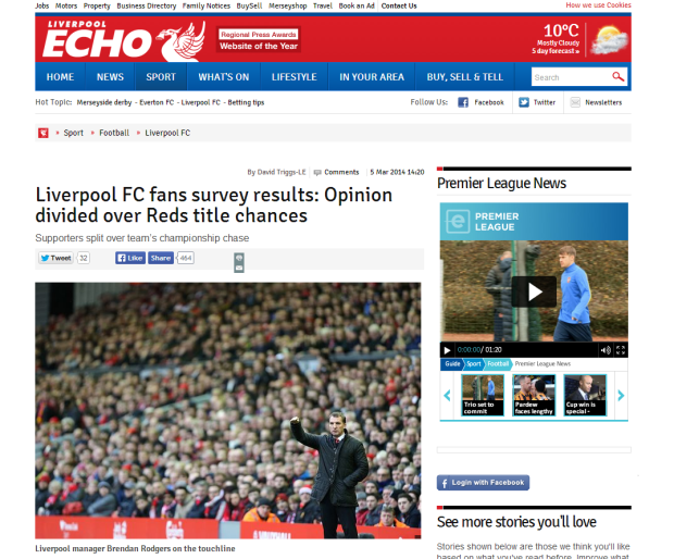 140305_Liverpool FC fans survey results  Opinion divided over Reds title chances   Liverpool Echo