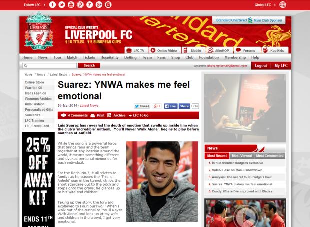 140309_Suarez  YNWA makes me feel emotional   Liverpool FC