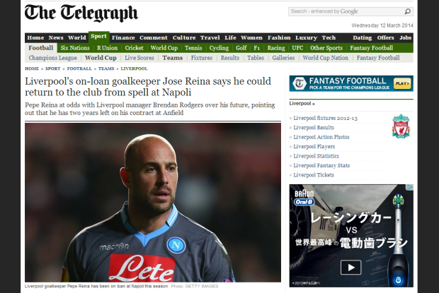 140312_Liverpool s on loan goalkeeper Jose Reina says he could return to the club from spell at Napoli   Telegraph