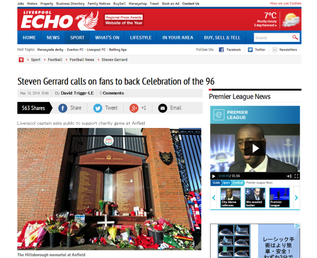 140313_Liverpool FC captain Steven Gerrard calls upon fans to back Celebration of the 96   Liverpool Echo