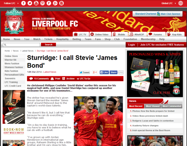 140315_Sturridge  I call Stevie  James Bond    Liverpool FC