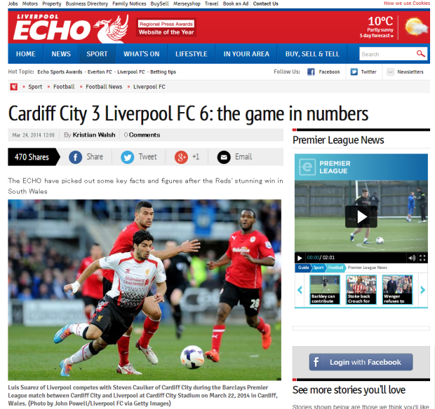 140324_Nine key numbers from Liverpool FC s 6 3 win against Cardiff City   Liverpool Echo
