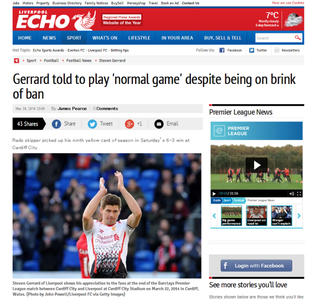 140325_Liverpool FC Steven Gerrard told to play  normal game  despite being on brink of ban   Liverpool Echo