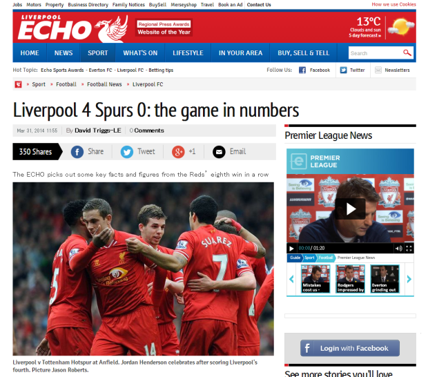 140401_Liverpool 4 Spurs 0  ten top stats from the game   Liverpool Echo