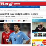 スアレス「ウルグアイはイングランドに脅威をもたらす」