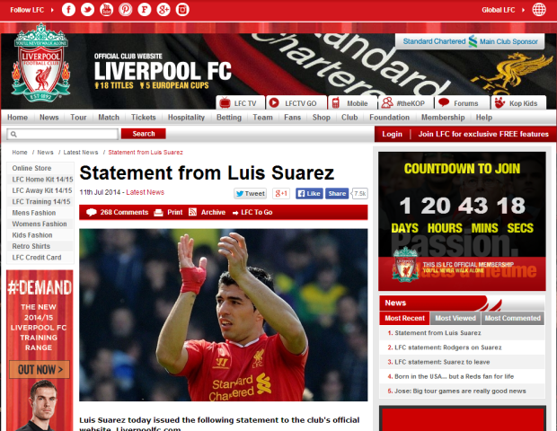 140711_Statement from Luis Suarez   Liverpool FC