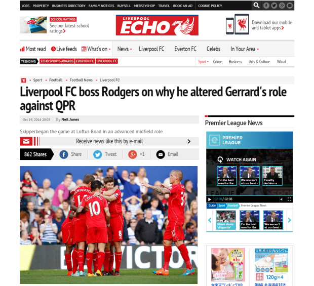 141020_Liverpool FC boss Rodgers on why he altered Gerrard s role against QPR   Liverpool Echo