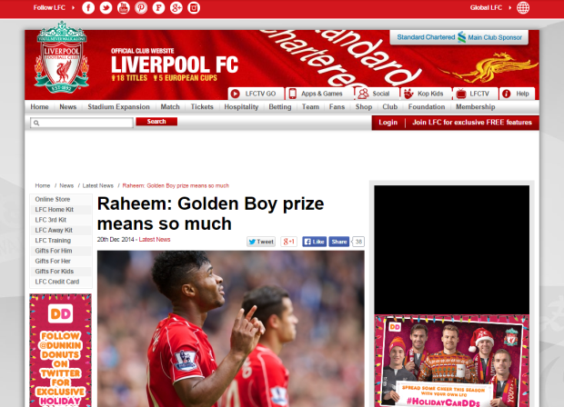 141220_Raheem  Golden Boy prize means so much   Liverpool FC