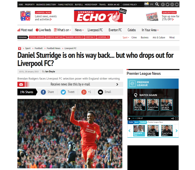 150129_Daniel Sturridge is on his way back... but who drops out for Liverpool FC    Liverpool Echo