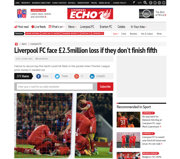 150524_Liverpool FC face £2.5million loss if they don t finish fifth   Liverpool Echo