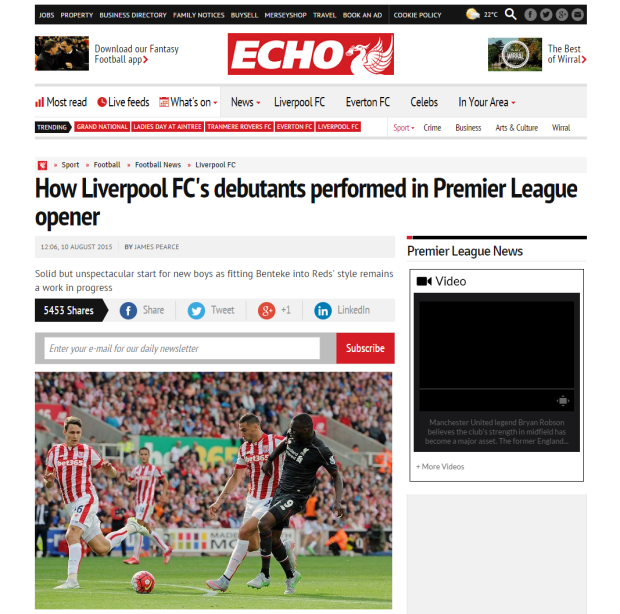 150812_How Liverpool FC s debutants performed in Premier League opener   Liverpool Echo
