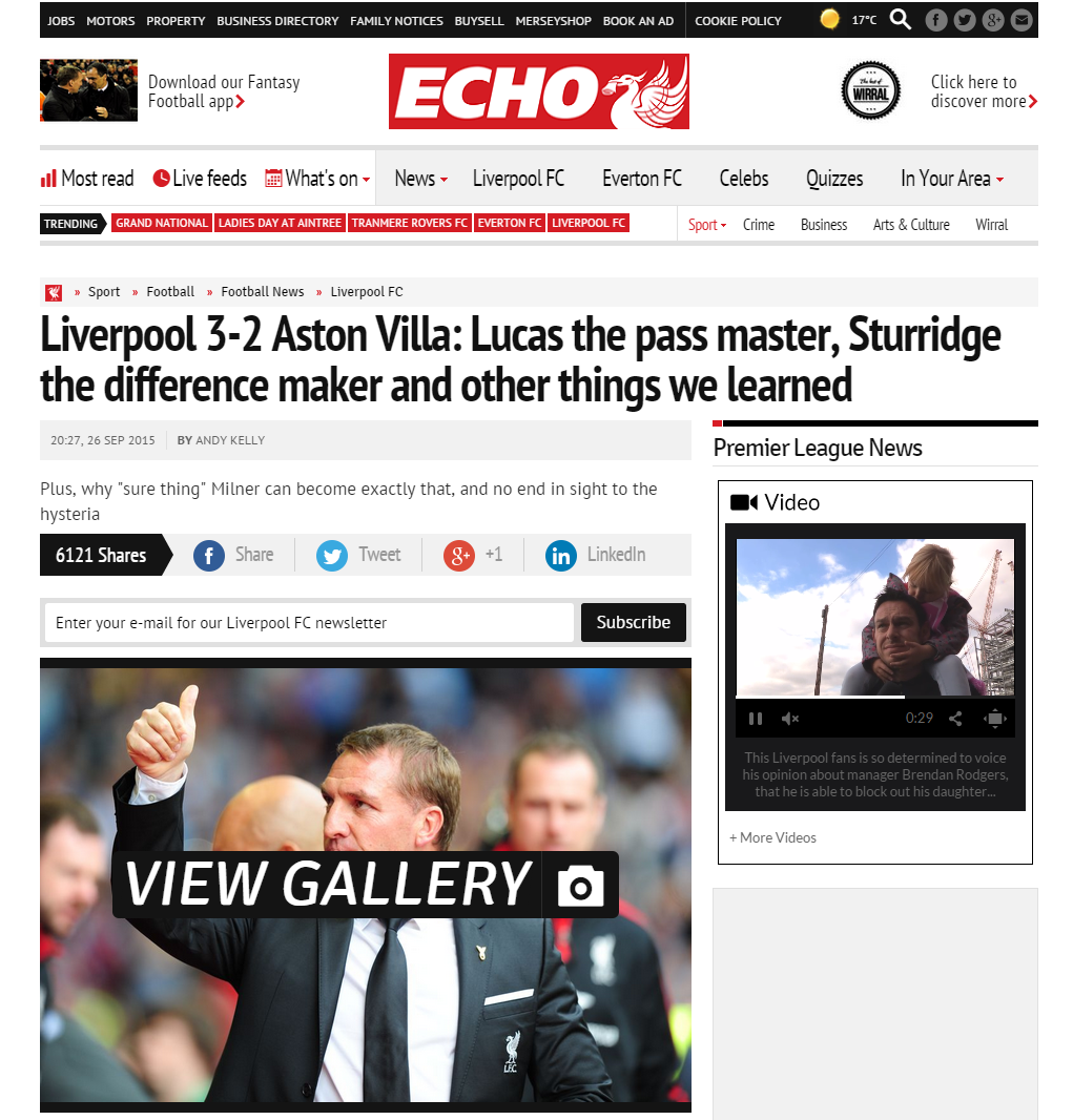 150927_Liverpool 3 2 Aston Villa  Lucas the pass master  Sturridge the difference maker and other things we learned   Liverpool Echo