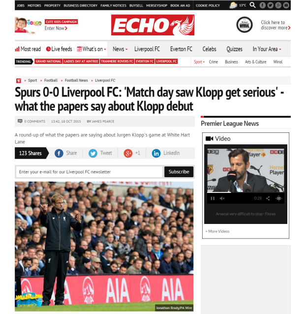 Spurs 0 0 Liverpool FC   Match day saw Klopp get serious    what the papers say about Klopp debut   Liverpool Echo