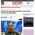クロップ「イングランドは素晴らしい国だけど試合が多すぎる」