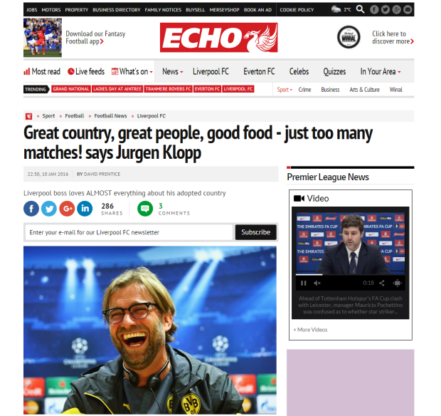 160111_Great country  great people  good food   just too many matches  says Jurgen Klopp   Liverpool Echo