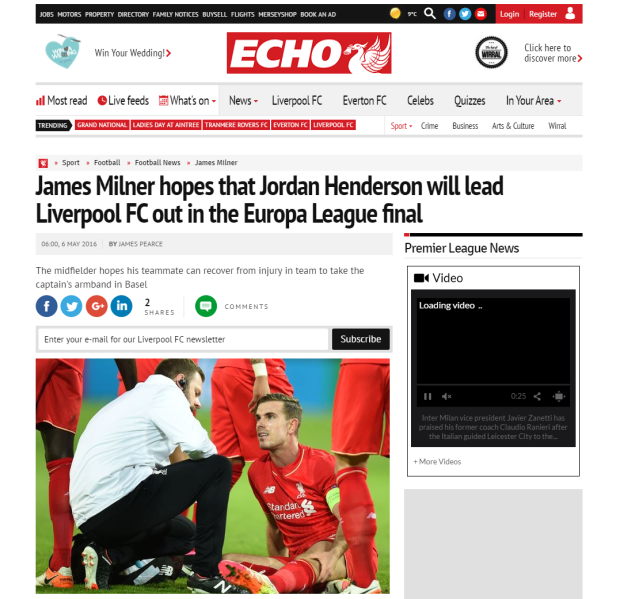 160506_James Milner hopes that Jordan Henderson will lead Liverpool FC out in the Europa League final   Liverpool Echo