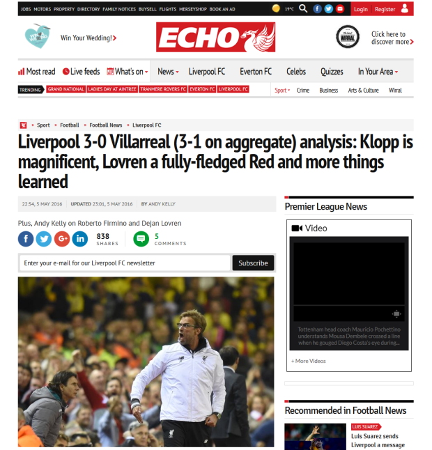 160506_Liverpool 3-0 Villarreal (3-1 on aggregate) analysis- Klopp is magnificent, Lovren a fully-fledged Red and more things learned - Liverpool Echo 2016-05-06 23-43-53
