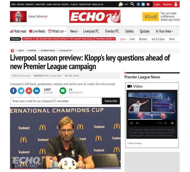160811_Liverpool season preview  Klopp s key questions ahead of new Premier League campaign   Liverpool Echo