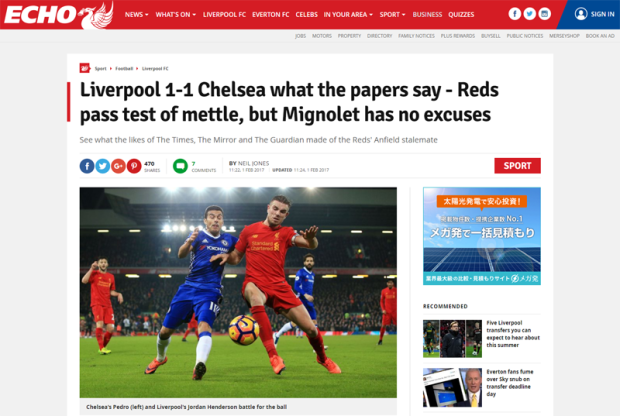 170201_Liverpool 1 1 Chelsea what the papers say Reds pass test of mettle but Mignolet has no excuses Liverpool Echo